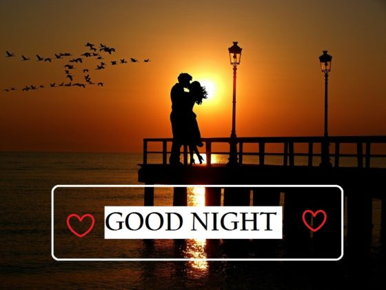 good night couple kissing images